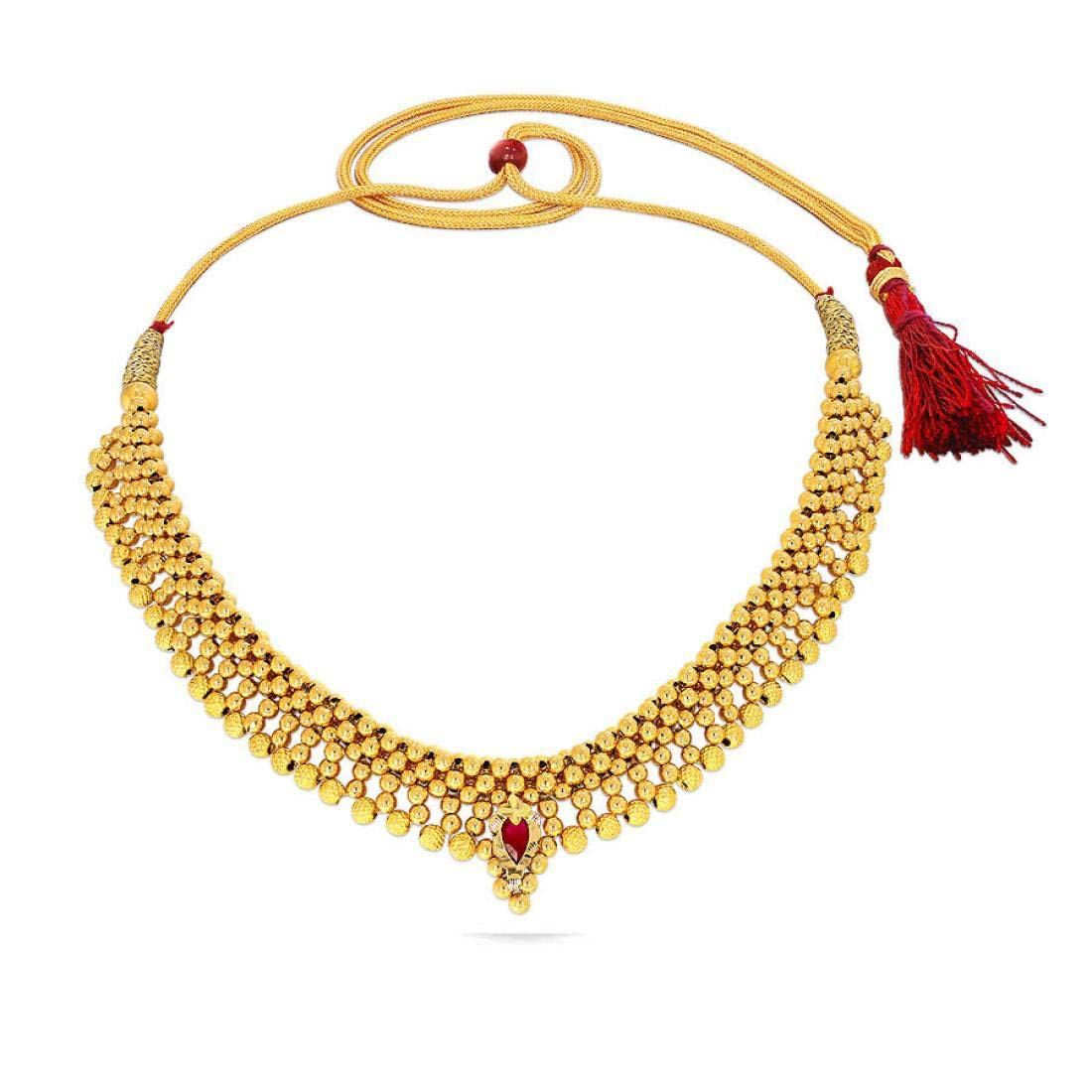 Buy Candere By Kalyan Jewellers 22k 916 Yellow Gold And Ruby Choker Necklace For Women At Amazon In