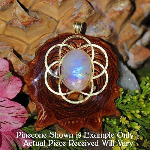 Moonstone with Seed of Life Third Eye Pinecone Pendant by Third Eye Pinecones