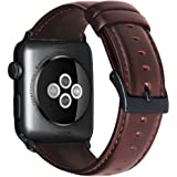 House of Quirk Leather 42Mm Vintage Strap Replacement For iWatch Series 3 Series 2 Series 1 Sport And Edition - Tan (Watch Not Included)