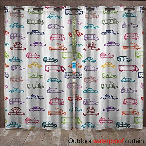 (WilliamsDecor Cars Home Patio Outdoor Curtain Various Types of Vehicles Bus Truck Garbage Truck Sports Car Vibrant Colored Design W72 x L84(183cm x)