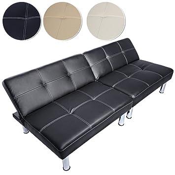 Canapé Convertible En Lit Banquette ClicClac En Simili Cuir Noir - Canapé lit simili cuir