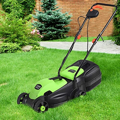 HAPPYGRILL 14-Inch 12 Amp Electric Lawn Mower, Handle Push Corded Lawn Mower with Grass Bag