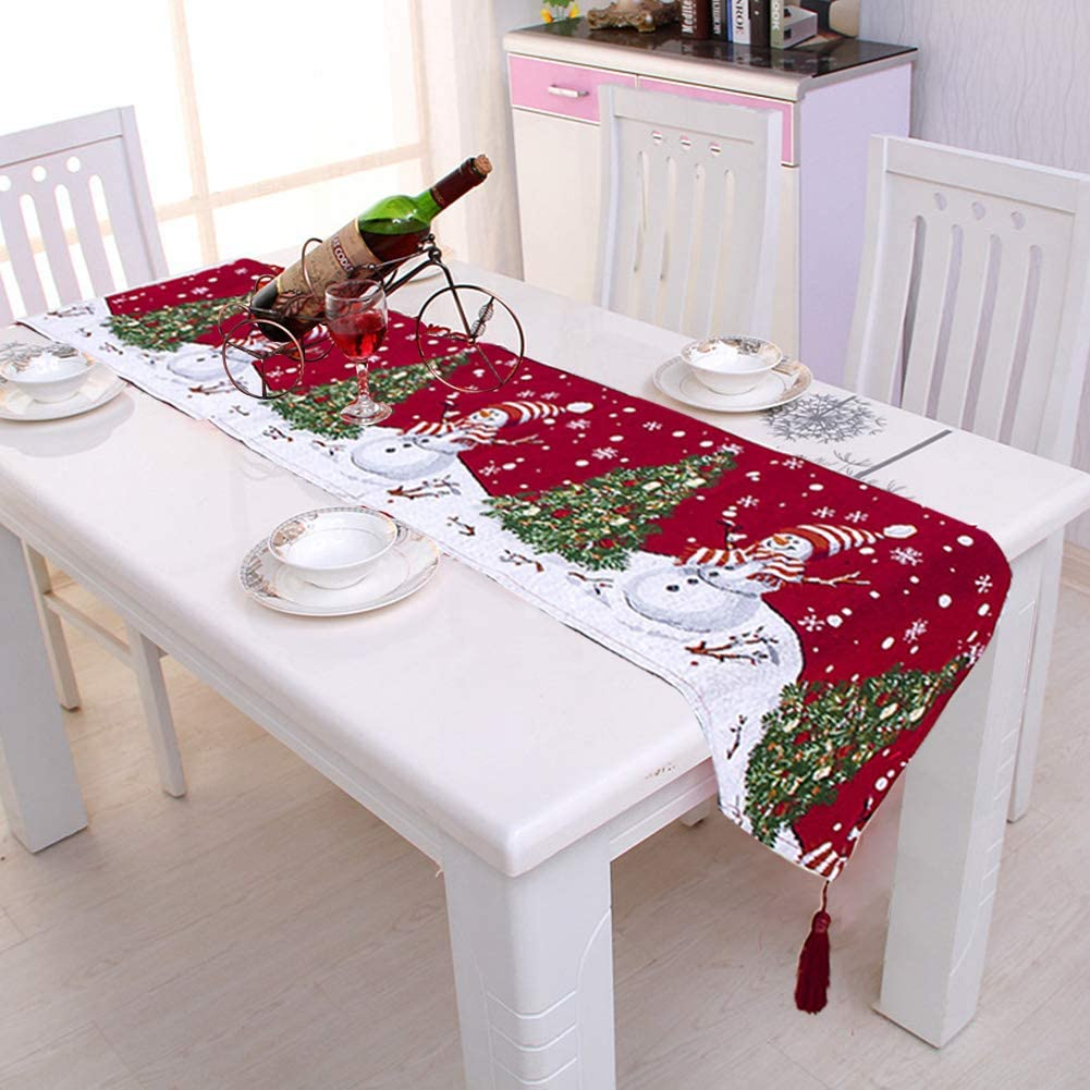 Pveath Christmas Embroidered Table Runner Xmas Table Linens For Christmas Decoration Home Tablecover Decorative 2 Sides Cotton Linen Classic Table Bedding Mat Dining Room Party Holiday Decor 2 Amazon Co Uk Kitchen Home