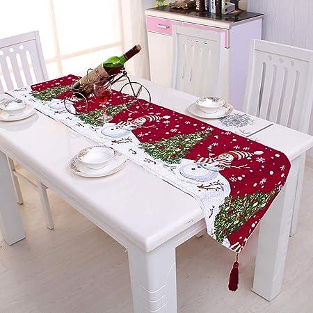 Pveath Camino de mesa de Navidad bordado para decoración de Navidad, decoración del hogar, mantel decorativo de 2 lados de algodón y lino, decoración clásica para comedor, fiesta, día festivo: Amazon.es: Hogar