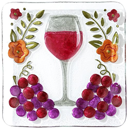 DEMDACO Silvestri Wine Glass Square Plate - Fused Glass Wall Clock