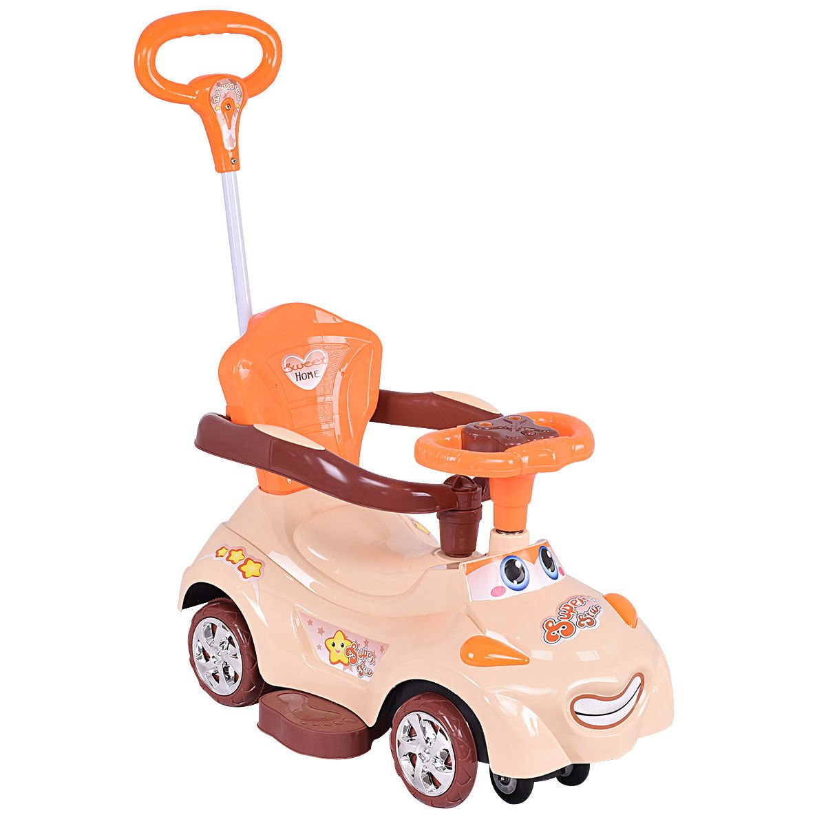 Costzon Kids Ride On Push Car, 3 in 1 Sliding Swinging Wagon w/ Handle Music (Coffee)