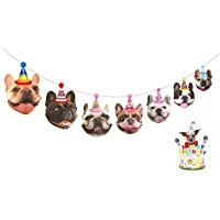 Happy Birthday Banner   Girl and Boy Birthday Sign   Paper Card Stock Bday Party Decoration Funny French Bulldog Garland