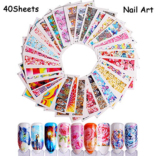 Nail Water Decals 40 Sheets Nail Art Stickers for Women Colorful Flower Tiger Zebra Butterfly Mixed Designs Full Wraps Water Transfer Nail Tattoos for Manicure Tips Decorations by Hary -
