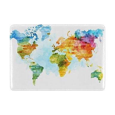 Amazon.com: Cooper niña acuarela mapa del mundo funda para ...