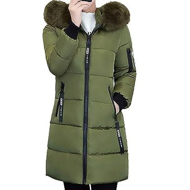 38774ce6e1d6 Byste Womens Long Coat Fur Hooded Overcoat Warm Jacket Slim Outwear ...