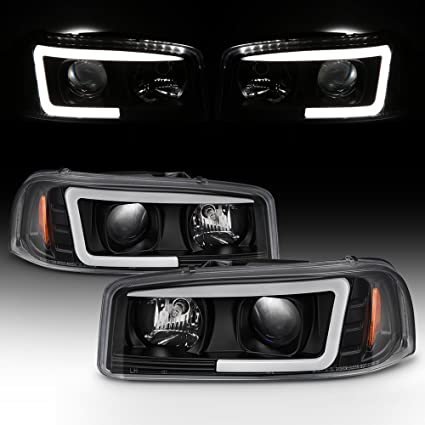 Amazon For 99 06 GMC Sierra 1500 2500HD 3500 C3 Yukon XL Black LED Tube Projector Headlights Driver Passenger Side Pair Automotive