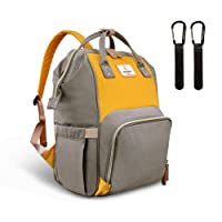 Pipi bear Changing Backpack Bag - Large-Capacity, Lightweight and Multi-Functional Nappy Backpack with Insulated Pockets, New Fashion Travel Backpack for Mom and Dad (Dark Grey&Yellow)