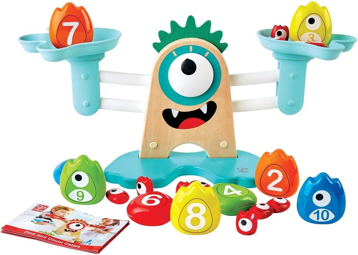 Hape- Monster Math Scale-Colourful, Educational Wooden Toy Juguete Educativo de Madera con diseño de Monstruo (E0511)
