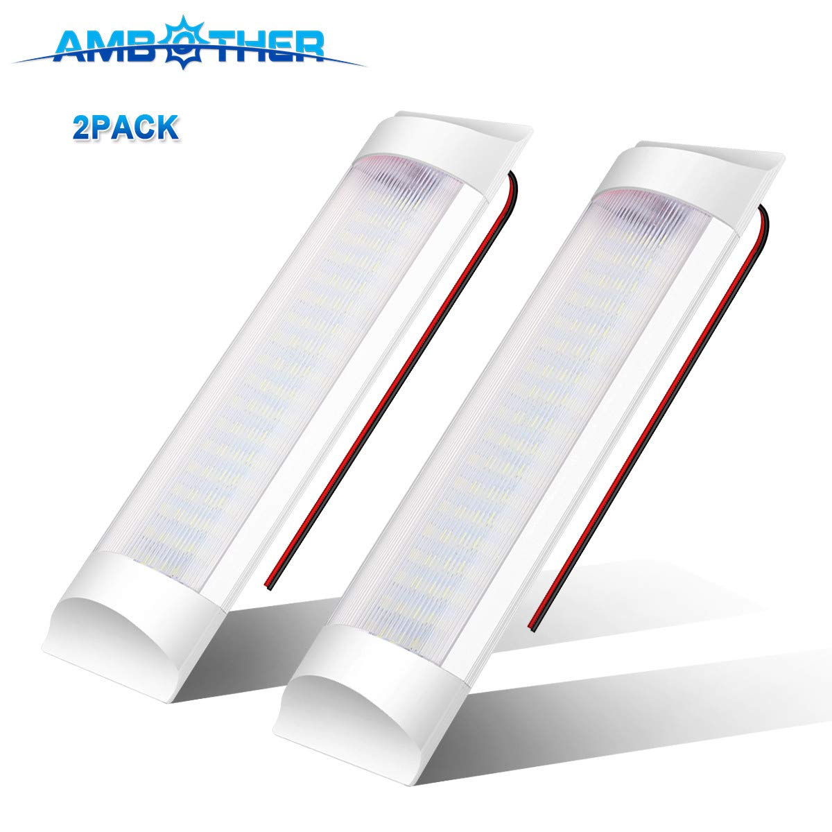 AMBOTHER LED RV Ceiling Light Roof Lights 2 X 600LM 12V LED Interior Lighting for RV/Camper/Trailer/Motorhome/Van with ON/OFF Switch White (Pack of 2) (72 LED)