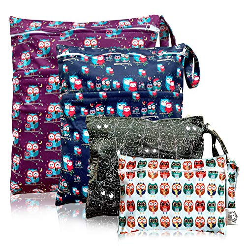 Wet Dry Bag,Diaper Cloth Waterproof Reusable Wet Bags with Zippered Snap Handing,for Travel Pool Beach Daycare Toddler Soiled Yoga Gym Bag Swimwear Bathing Suit or Wet Clothes,4 pcs,Owls (Diaper Wet Bag Extra Large)