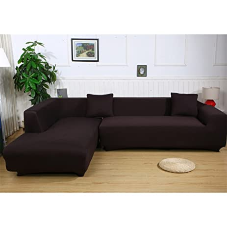Premium Quality Sofa Covers For L Shape, 2pcs Polyester Fabric Stretch  Slipcovers + 2pcs Pillow