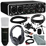 Photo Savings Behringer U-PHORIA UMC204HD USB 2.0 Audio/MIDI Interface and Platinum Bundle w/Marantz Pro MPM-1000 Condenser Mic + Headphones + Cables + Fibertique