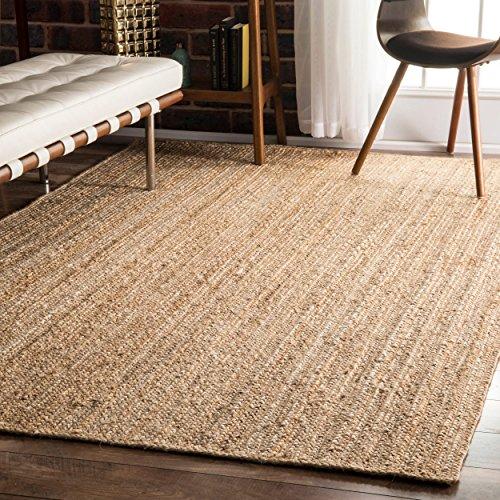 NuLOOM Hand Woven Rigo Jute rug Area Rug, 8-Feet x 10-Feet, Natural