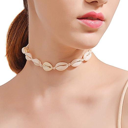 Abilieauty de Mujer Collar Shell Gargantilla Collar Algodón Soga ...