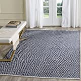 Safavieh Montauk Collection MTK811C Handmade Flatweave Navy and Ivory Cotton Area Rug (4' x 6')