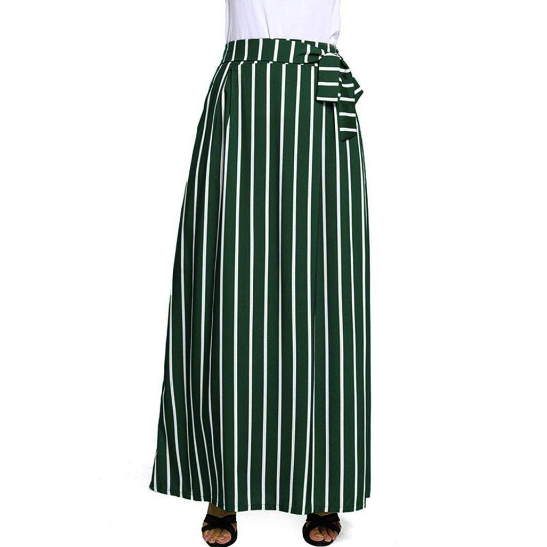 Women Vintage Striped Skirt - Chiffon Empire Lace-up Ankle-Length Long Skirt