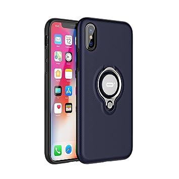 ICONFLANG Funda para teléfono iPhone X, con Anillo Giratorio de 360 Grados, protección contra Impactos de Doble Capa Resistente a los Golpes, ...