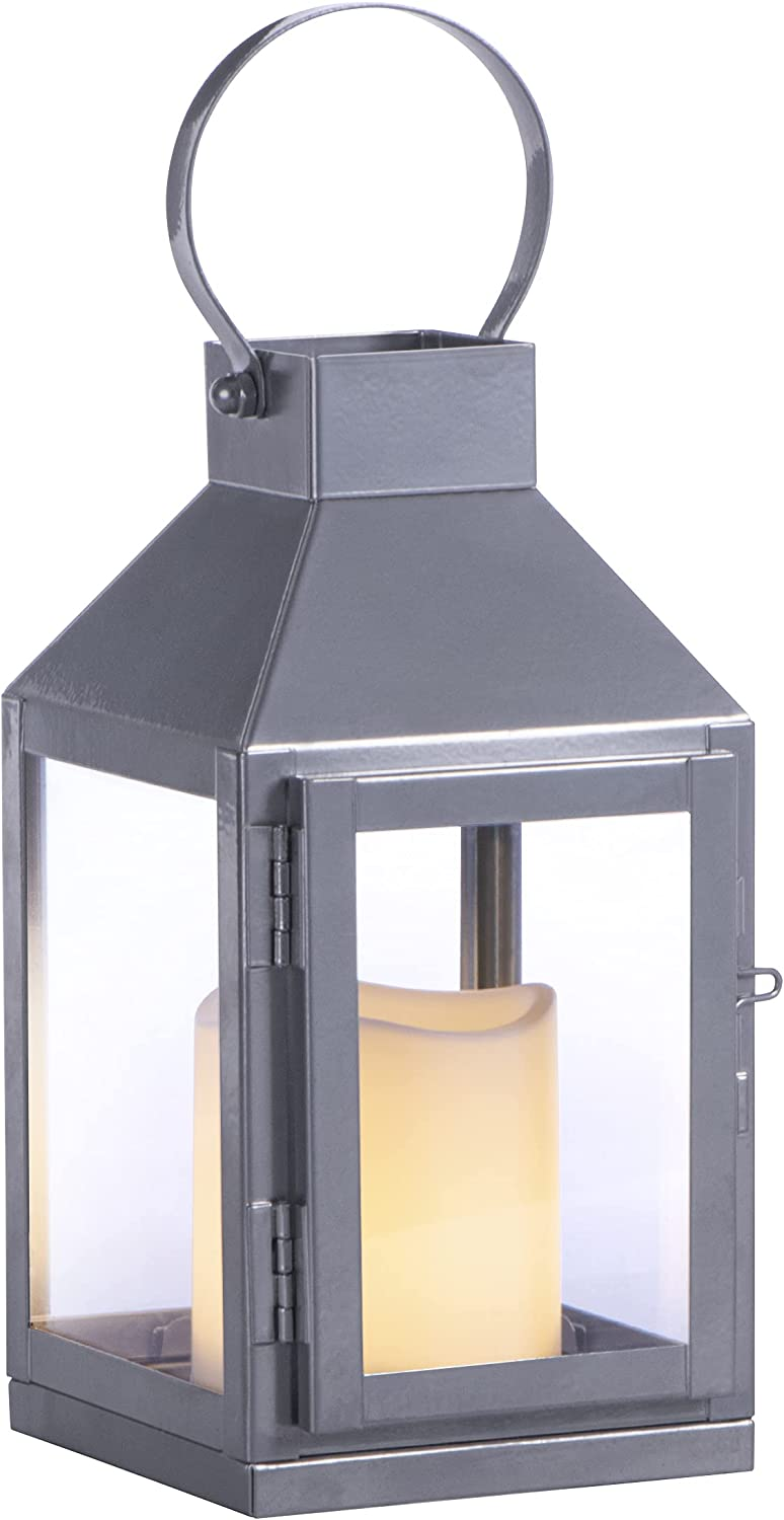 Sterno Home GL43837 Square Metal and Glass Integrated Flameless LED Candle, Silver Lantern