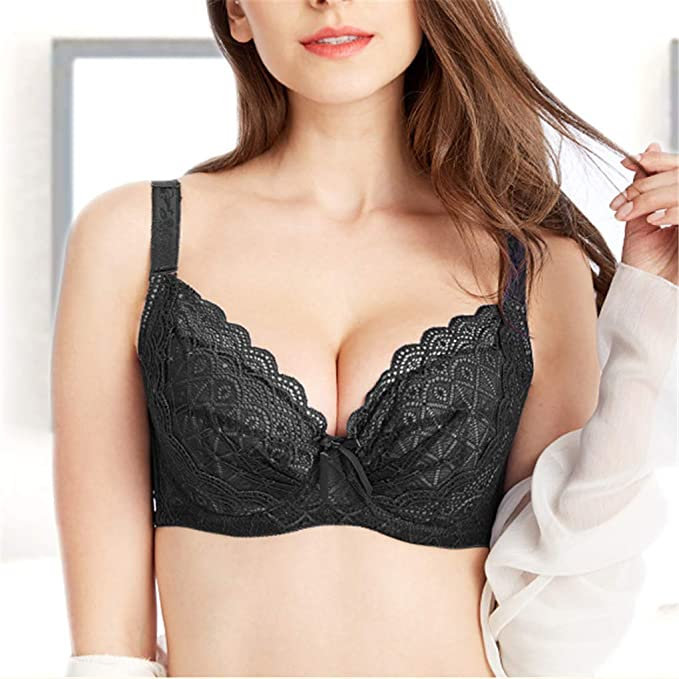 fb530bd15d Vhozdja Women Underwire Bra Plus Size Everday Bras 3 4 Cup Deep V Underwire  Bra