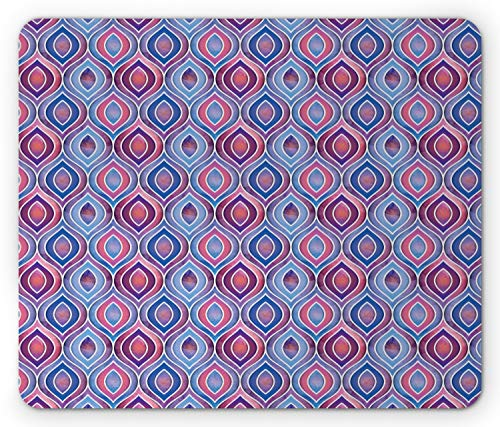 Lunarable Bohemian Mouse Pad, Abstract Ornamental Pattern with Folkloric Batik Tiles Dotted Oval Shapes, Standard Size Rectangle Non-Slip Rubber Mousepad, Blue Purple Pink