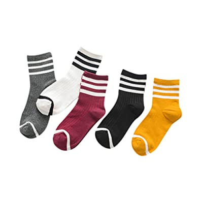 5 Pairs Women's Cute Stripe Cotton Ankle Socks for Christmas /New Year