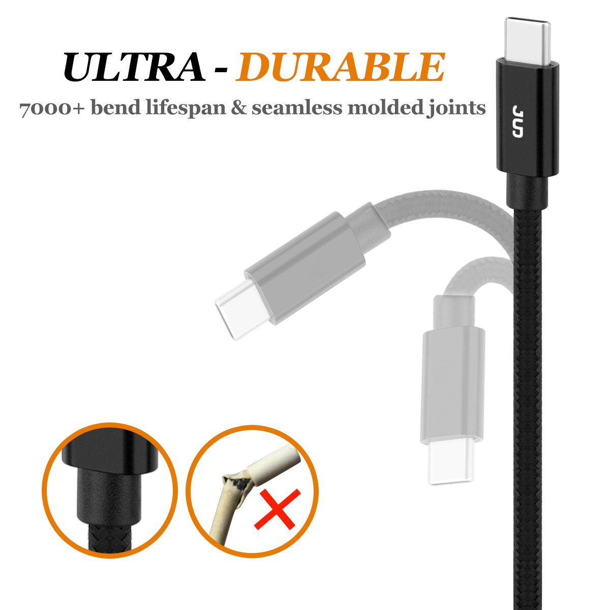 Type C Cable, JUD USB C to USB 3.0 Charger cable(2 Pack, 3ft/6ft) Nylon Braided Fast Charging Cord for Samsung Galaxy Note 8, S8, S8+, LG V20 V30 G5 G6, Nexus 6P 5X and More (BLK)