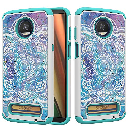 (Moto Z3 Play Case, UZER Dual Layer Shockproof Glitter Sparkle 3D Diamond Studded Bling Rhinestone Painted Series Hard PC+ Soft Silicone Hybrid Impact Defender Case for Motorola Moto Z3 Play 2018 Model)