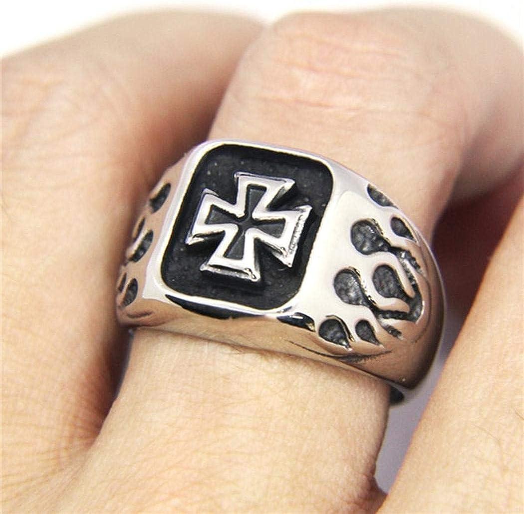 LALA JEW Cross Ring 316L Stainless Steel Jewelry Silver Soild Heavy Jesus Cross Biker Ring