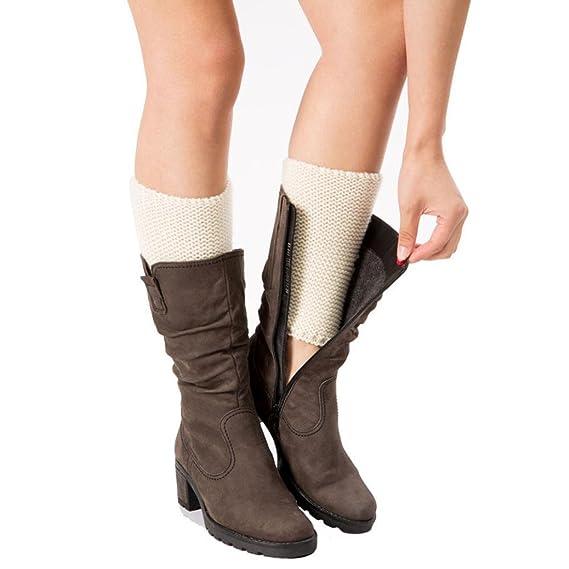 OverDose Calentadores de la mujer que hace punto la cubierta de la bota de los calcetines