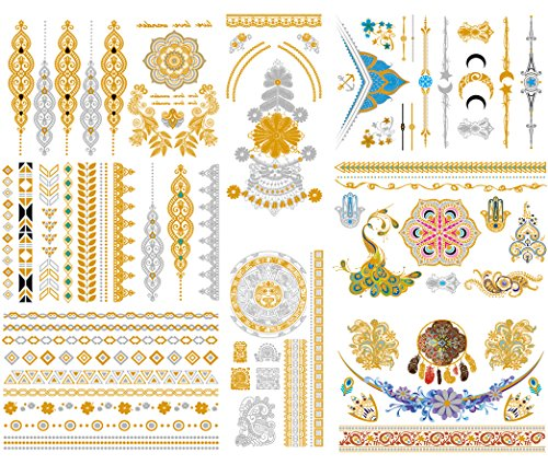 Metallic Temporary Tattoos for Women Girls and Kids, 8 Sheets Henna Tattoo Stickers in Gold Silver and Colorful, Flash Tattoos for Party, Coachella, Beach ()
