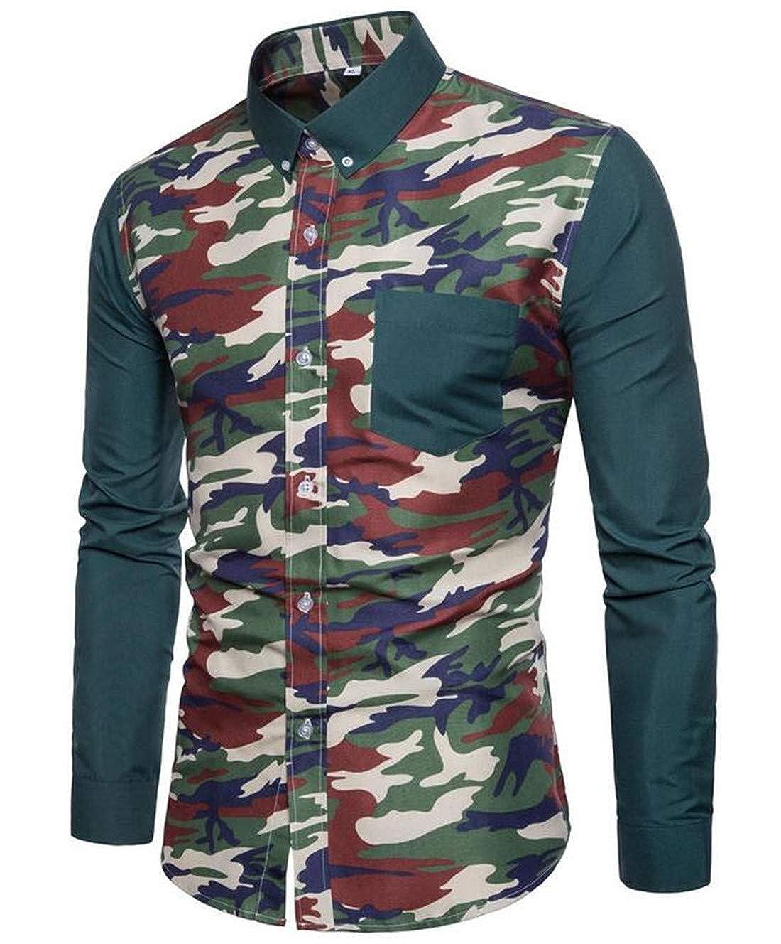 Nanquan Men Basic Camouflage Print Raglan Sleeves Slim Fit Button Down Shirt