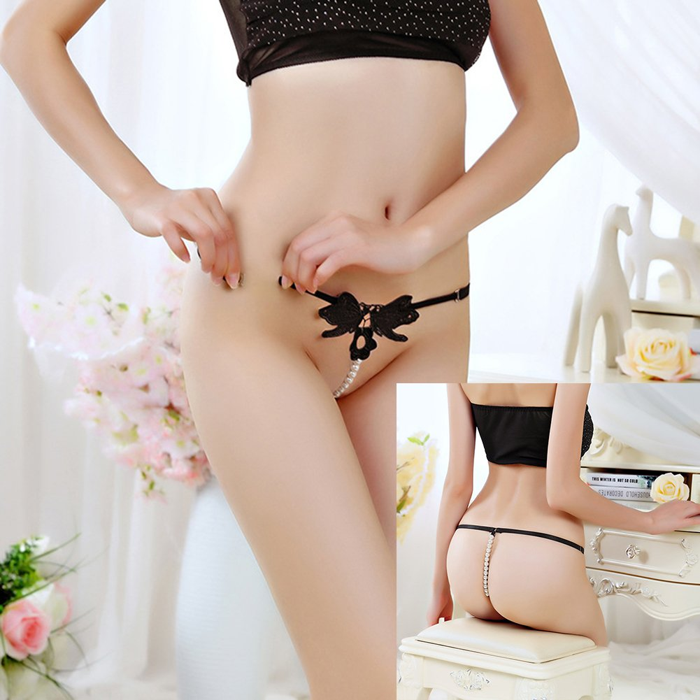 Women's Sexy Pearl Thong Crotchless Floral G-String 4 Different Patterns/Pack Bikini Lingerie