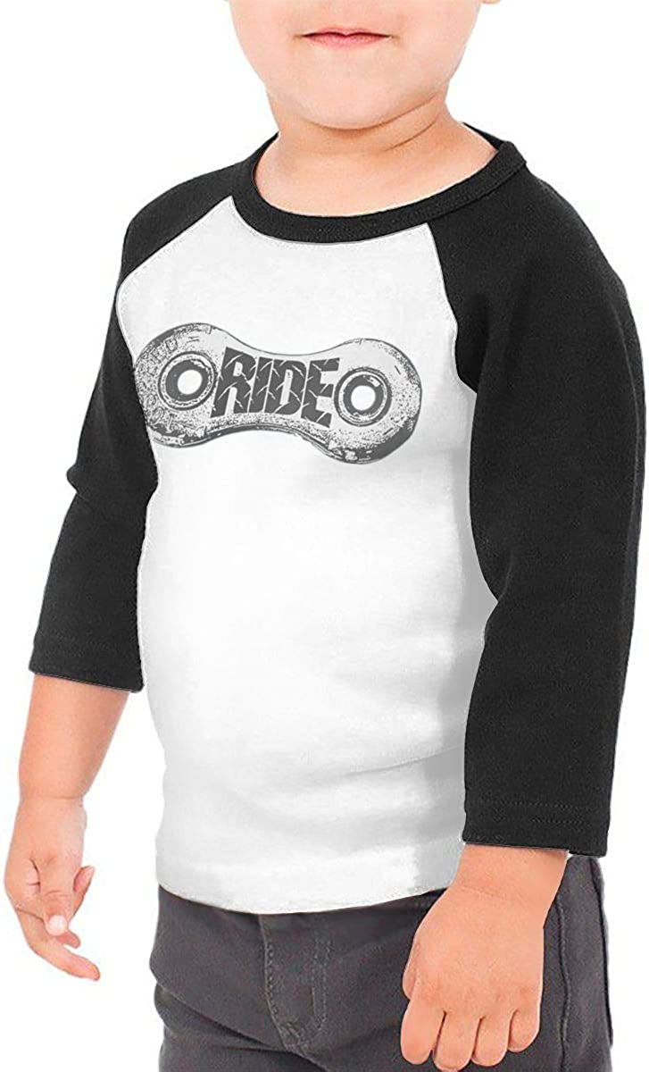 Ride Kids Jersey Raglan T-Shirt Children 3//4 Sleeve Baseball Shirt Top