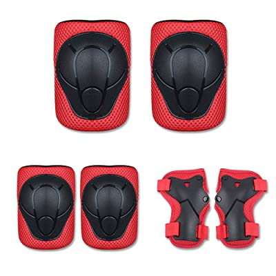 Skateboard Protect Knee Pad Kids Skating Cycling Running Wrist Guards Roller Skate Beginner Protective Set (Red): Industrial & Scientific
