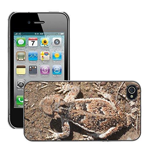 Bild Hart Handy Schwarz Schutz Case Cover Schale Etui // M00134929 Horned Toad Camouflage Lizard // Apple iPhone 4 4S 4G