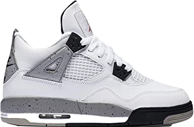nike air jordan 4 retro OG BG hi top trainers 836016 sneakers shoes (6.5Y ,  white fire red black tech grey 192)