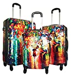 3pc Luggage Set Hardside Rolling 4wheel Spinner Carryon Travel Case Poly Rain