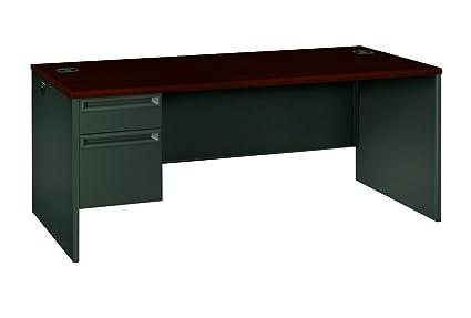 Hon 38294lns 38000 Series 72 By 36 By 29 1 2 Inch Left Pedestal L Workstation Desk Mahogany