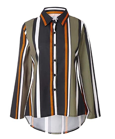 af3323eebdfd Cromoncent Womens Turkish Striped Button-Down Slim Long Sleeve Shirt at  Amazon Women's Clothing store:
