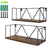 EdenseeLake 2 Pack Floating Shelves Wall Mounted Wood Storage Shelf with Metal Wire for Bedroom, Bathroom, Living Room…