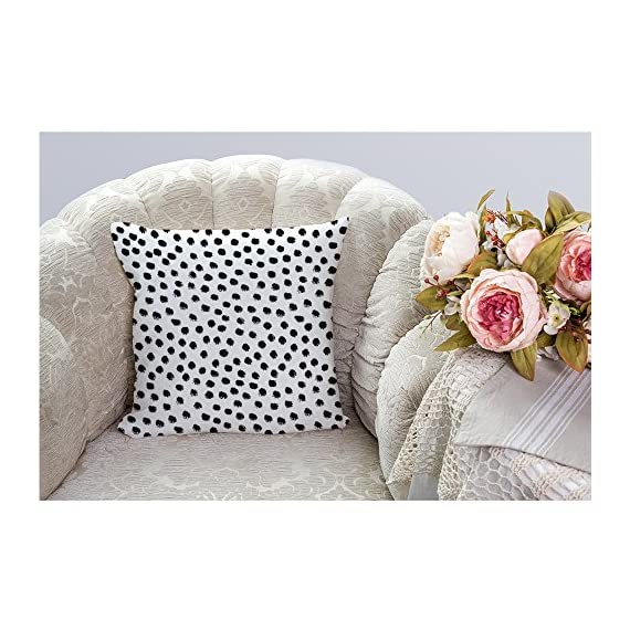 "HGOD DESIGNS Polka Dots Decorative Throw Pillow Cover Case,Brush Strokes Dots Cotton Linen Outdoor Pillow cases Square Standard Cushion Covers For Sofa Couch Bed 18x18 inch Black - Made of durable high quality cotton linen Burlap material,no peculiar smell,comfortable,breathable,durable and stylish. Dimensions: 18"" x 18"" inch (1-2cm deviation).Please ensure your pillow is suitable for this size.it is easy to install. This Polka Dots pillow cover pattern is print on the both side.it will decorate your house well,Brings Luxury Look To Your Home Decorative, Living Rooms, Sofa, Couch, Chair, Bedrooms, Offices - patio, outdoor-throw-pillows, outdoor-decor - 61 stnhpP3L. SS570  -"