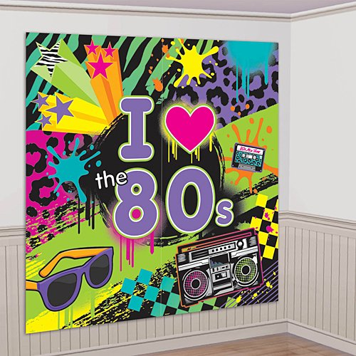 Amscan Awesome 80 s Party Wall Scene Setter Decorating Kit, 2 Pieces, Made from Plastic, Multicolor, 2 Pieces, 65