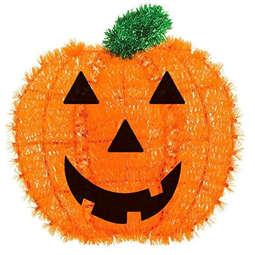 Amscan Friendly Tinsel Pumpkin Halloween Trick or Treat Hanging Decoration, Orange, 13