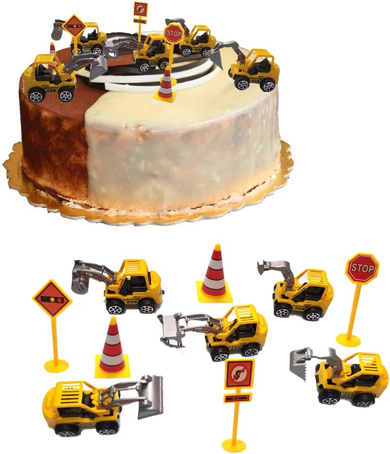 Construction Vehicle Cake Decoration Set Construction Birthday Decorations Construction Truck Vehicle Cupcake Toppers Food Picks 5 Pieces Traffic Road Sign Cake Toppers for Kids Baby Girls Boys Baby Shower ,Birthday Party Decorations