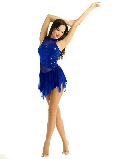 IEFIEL Maillot Ballet con Falda Irregular Mujer Vestido de Danza ...